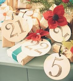 Large distressed vintage style numbers on creamy aged circle tags. Especially cute on gifts wrapped with old book pages and pops of color from satin ribbons.
