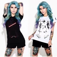 #airica is literally perfect #bluehair #gorgeous #tattoos #starwars
