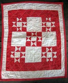 Old red and white Doll Quilt.