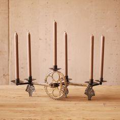Add a few more candles... vwalah!  Hanukah Menorah! Bike Pedal Sprocket Candelabra   dotandbo.com