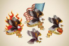Old School Tattoo of an Eagle (4x) - Illustrations - 1