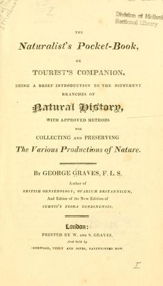 The naturalist's pocket-book, or tourist's companion, - Biodiversity Heritage Library
