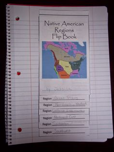 Native American Regions Flip Book for interactive notebooks or lapbooks