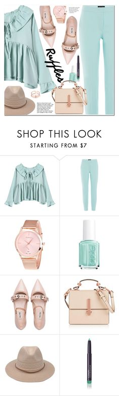 """""""Add Some Flair: Ruffled Tops"""" by ansev ❤ liked on Polyvore featuring Piazza Sempione, Essie, Miu Miu, Kendall + Kylie and By Terry"""