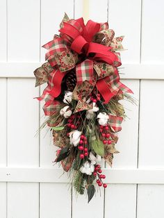 Christmas Swag Teardrop Cotton And Berry Swags Plaid Door