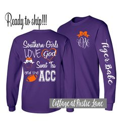 1 Monogrammed Shirt Long Sleeve Clemson by CottageatRusticLane