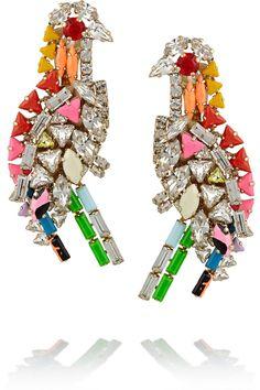 Shourouk Parrot gold-plated Swarovski crystal clip earrings
