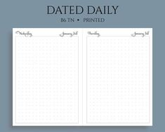 These dated daily inserts feature a simple large dot grid section to write to dos, appointments, or other notes. They are perfect to use as daily bullet journal pages. The dots are spaced approximately apart. These daily inserts are divided into booklets. Planner Sheets, Planner Inserts, Daily Printable, Printable Planner, Hourly Planner, Weekly Planner, Daily Bullet Journal, Finance Tracker, Mini Happy Planner