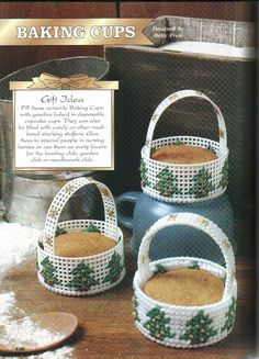 need to make this for my favorite cookies. also use different design for the sides. Plastic Canvas Ornaments, Plastic Canvas Christmas, Plastic Canvas Crafts, Plastic Canvas Patterns, Christmas Tree In Basket, Holiday Baskets, School Gifts, Tissue Box Covers, Diy Canvas