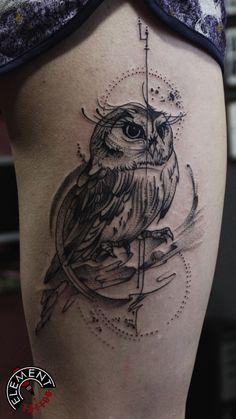 Owl tattoo on leg blackwork by Aleksey Suchkov Aa Tattoos, Trendy Tattoos, Mini Tattoos, Body Art Tattoos, Tattoos For Guys, Indian Skull Tattoos, Sugar Skull Tattoos, Owl Tattoo Drawings, Tattoo Sketches