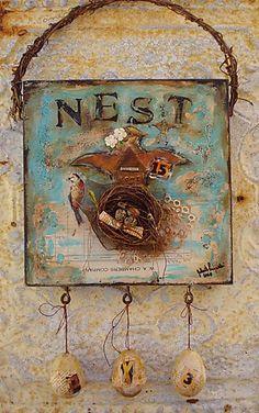 JoAnnA Pierotti...love her artwork.: altered art mixed media collage bird nest love the eggs