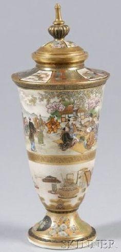 Japanese Satsuma jar, designs of family gathering and tea ceremony objects, Japan, circa 1801-1900