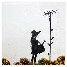 BANKSY  Watering can girl, canvas wall art