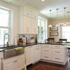 Modern white kitchen with stainless steel farmhouse sink