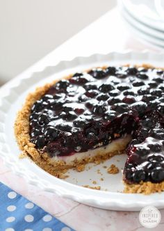 Blueberry Cream Pie with Coconut Graham Cracker Crust