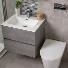 Free delivery over to most of the UK ✓ Great Selection ✓ Excellent customer service ✓ Find everything for a beautiful home Toilet Vanity Unit, Toilet And Sink Unit, Bathroom Sink Units, Sink Vanity Unit, Small Bathroom Vanities, Small Grey Bathrooms, Grey Vanity Unit, Toilet Sink, Modern Bathrooms