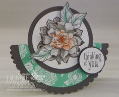 Folded Circle Card. Stampin' Up! Peaceful Petals by Debbie Henderson, Debbie's Designs. Card Folds.