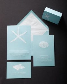 Blue-and-White Invitation    Aquamarine paper paired with white engraved font creates a summertime style that's sure to pop.