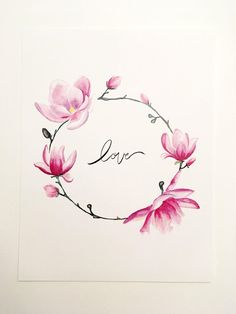 Your place to buy and sell all things handmade - Purple Magnolia valentines day PRINT - Beautiful Flower Tattoos, Small Flower Tattoos, Flower Tattoo Designs, Small Tattoos, Vine Tattoos, 3d Tattoos, Body Art Tattoos, Tatoos, Watercolor Cards