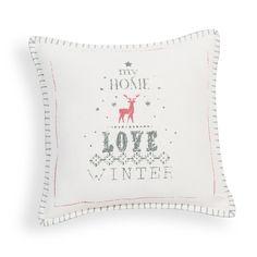 Housse de coussin en coton blanche 40 x 40 cm LOVE WINTER | Maisons du Monde