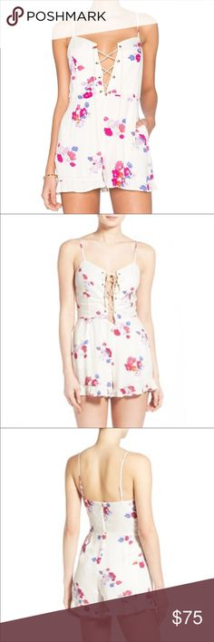 MINKPINK Sexy Floral Romper MINKPINK Sexy Floral Romper.  Sexy rope tie in front, lined.  100% Viscose. MINKPINK Shorts