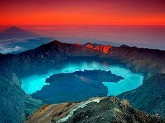 Mount Rinjani, Indonesia - Mount Rinjani stands at a little over 12,000 feet and is one of the highest volcanoes in the eastern hemisphere. Swim in the hot springs of the Crater Lake and explore the deep caves and spectacular views across Indonesia's Wallace Line to neighbouring Bali.