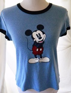 Vintage Mickey Mouse Disney Tshirt Stage 28 Short Sleeve Glitter Blue Size L…