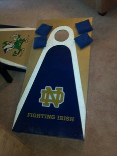 Custom Notre Dame Cornhole board for a customer - SOLD