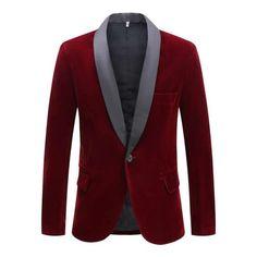 """The """"Xavier"""" Slim Fit Velvet Blazer Suit Jacket - Oxblood Velvet Suit, Velvet Blazer, Velvet Shawl, Suit Fashion, Red Fashion, Blazer Fashion, Fashion Styles, Slim Suit, Party Suits"""