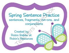 This set is differentiated for students just beginning to identify complete sentences, categorizing sentences as complete, run-on, or fragment, and using conjunctions to combine sentences. $2