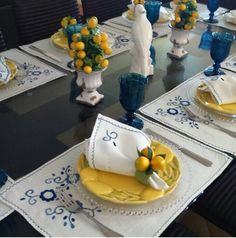 Table Setting ~ white, yellow, blue