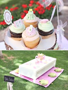 Royal Princess themed party - how cute are the forg, slippers, storybook and wand cupcakes! and the little tea party area with the blackboard? too cute!