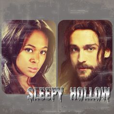 "Nichole BeHarie as Abbie Mills and Tom Mison as Ichabod Crane from the TV Show ""Sleepy Hollow""."