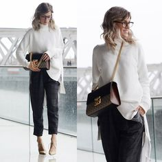 Vicky Wanka - Gucci Padlock Bag, French Connection Uk White Turtleneck Sweater, Zara Pleated Pants, Jimmy Choo Nude High Heels, Ray Ban Glasses - Gucci Bag and Casual Business Outfit