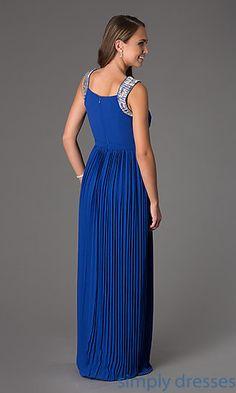 Dresses, Formal, Prom Dresses, Evening Wear: Floor Length Sleeveless Pleated Dress