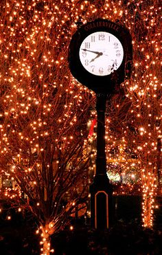 Collierville, Tennessee Christmas 2011. The clock on the Square.