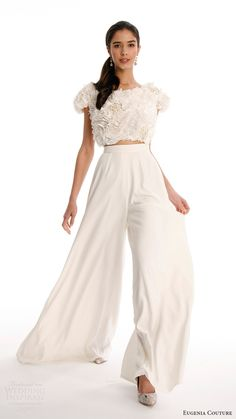 eugenia couture joy bridal spring 2017 short sleeves ruffle crop top crepe culotte pants (blanche) mv