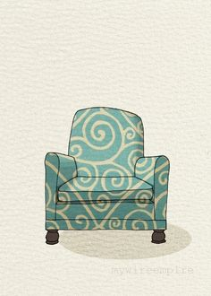 modern chair 1 (teal swirl) | mywireempire via Etsy.