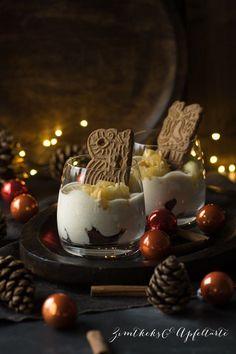 Spekulatius-Creme mit Bratapfelkompott - super einfach vorzubereiten - das perfekte Dessert für Weihnachten oder das Adventsessen - das schnelle Rezept findet Ihr auf meinem Blog