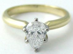 Yellow Gold Pear Shape Diamond Engagement Ring