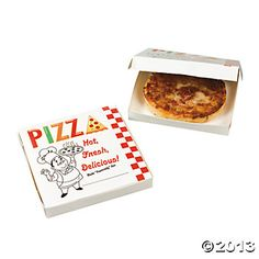 Personal pan pizza in box.