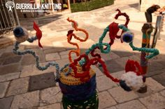 A 'Guerrilla Knitting' yarn bomb at StrArte in Giovinazzo, Italy