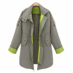 S-XL NEW Women Lapel Drawstring Trench Coat Windbreaker Overcoat Jacket Outwear | eBay