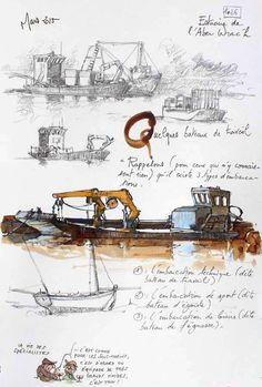 faudrait que j e trouve le moyen de dessiner plus rapidement, recopie ou met ds etat d esprit Une Bretagne par les Contours / Estuaire de l'Aber Wrac'h