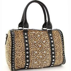 Rhinestone Studded Leopard Animal Print Handbag Purse Bonus Strap
