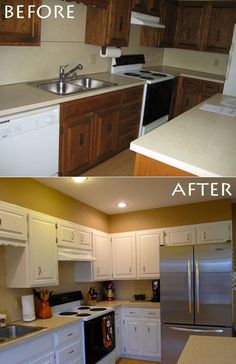 painting kitchen cabinets before after cappuccino granite countertops cabinets 7332