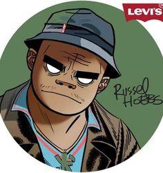 Gorillaz x Levi's Russel Hobbs Russel Hobbs, Russel Gorillaz, 2d And Noodle, Skateboard Logo, Monkeys Band, Gorillaz Art, Damon Albarn, Jamie Hewlett, Wallpaper Naruto Shippuden