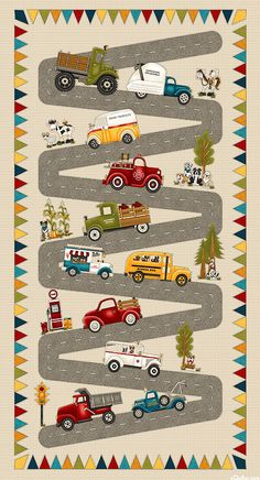 "Dump trucks, milk trucks, School buses, firetrucks, ambulances, tow trucks and more head to work down a winding road. 24"" panel, from the 'Papa's Old Truck' collection by Leanne Anderson and Kaytlyn Kuebler for Henry Glass & Co. Quilt Fabrics from www.eQuilter.com Dump Trucks, Old Trucks, Panel Quilts, New Shop, Fabric Online, Fabric Panels, Midnight Blue, Baby Quilts, Wall Design"