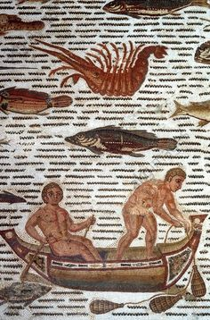 Roman Mosaic. 3rd Century A.D. Fishers in a rowboat at sea. From the house with the Triumph of Dionysus in Hadrum (Sousse). Sousse, Museum (Tunisian coast).