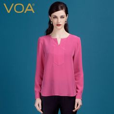 Find More T-Shirts Information about VOA classic 2016 autumn rose red silk tees long sleeve loose silk t shirt female curved hem B1123,High Quality t-shirt skin,China t-shirt sublimation Suppliers, Cheap t-shirt western from VOA Flagship Shop on Aliexpress.com